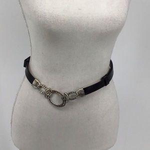 Chico's Black/Sliver oval buckle belt medium large